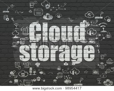 Cloud networking concept: Cloud Storage on wall background