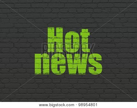 News concept: Hot News on wall background