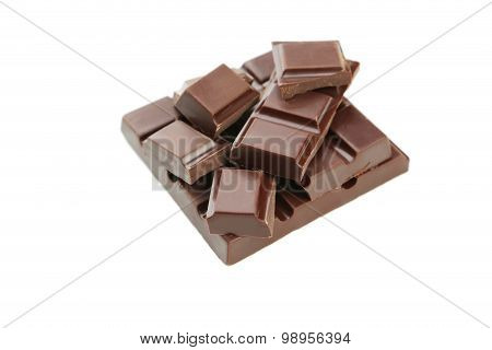 Dark Chocolate Bar Isolated On White