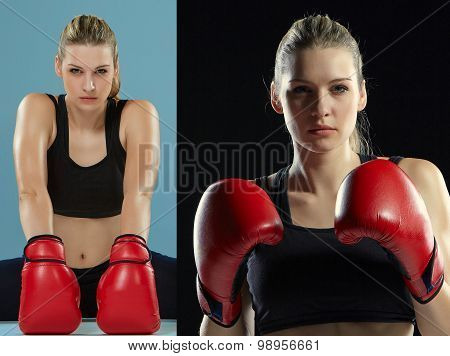 The beautiful boxer girl with the red gloves