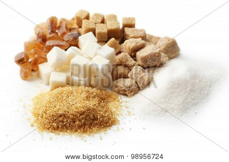 Various Kinds Of Sugar Isolated On White