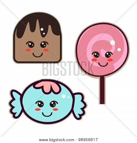 sweets, kawaii style, candy and lollipops with eyes