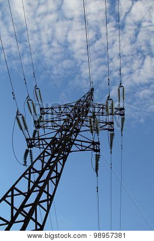 Pylon and wires of high voltage power line