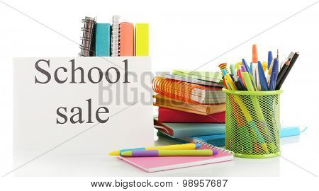 School supplies for sale, isolated on white