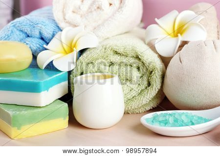 Spa treatments on colorful background