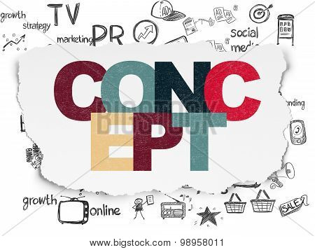 Marketing concept: Concept on Torn Paper background