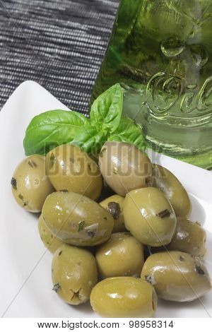 Marinated Green Olives On The White Bowl