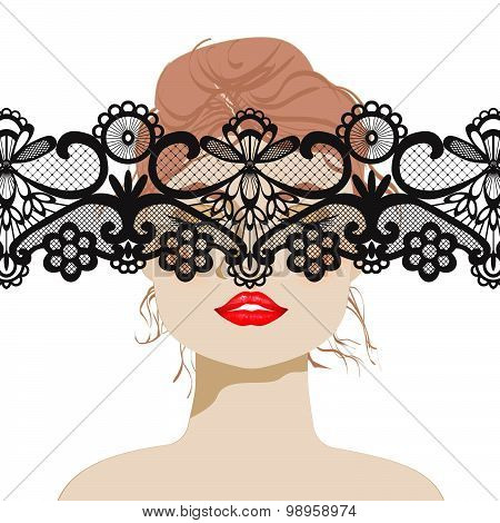 sexy woman, beautiful woman's face with lace