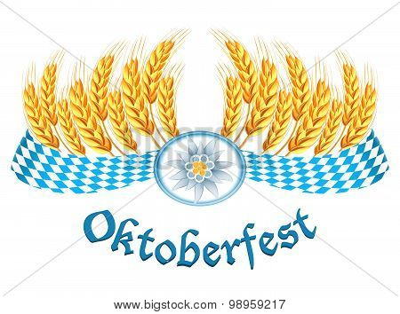 Oktoberfest Celebration Design With Edelweiss And Wheat Ears