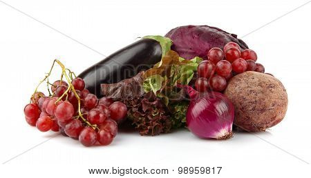 Group Of Purple Vegetables And Fruits On White
