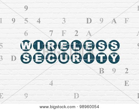 Safety concept: Wireless Security on wall background