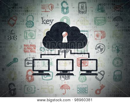 Protection concept: Cloud Network on Digital Paper background