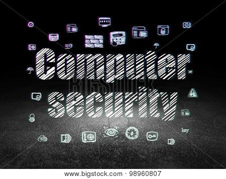 Privacy concept: Computer Security in grunge dark room