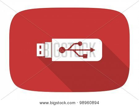 usb flat design modern icon with long shadow for web and mobile app