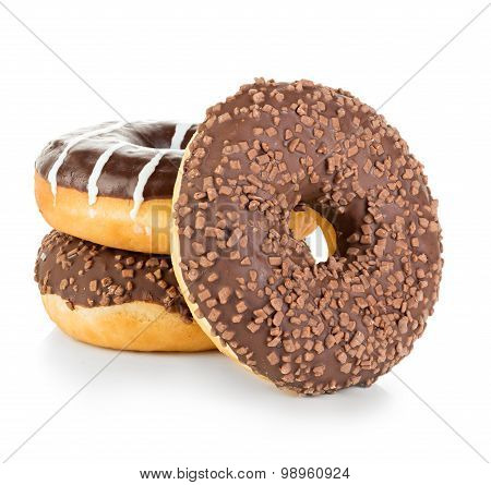 Donuts close-up isolated on a white background