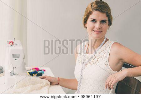 At Sewing Machine