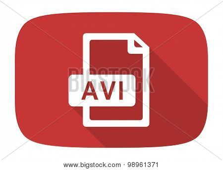 avi file flat design modern icon with long shadow for web and mobile app