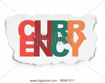 Banking concept: Currency on Torn Paper background