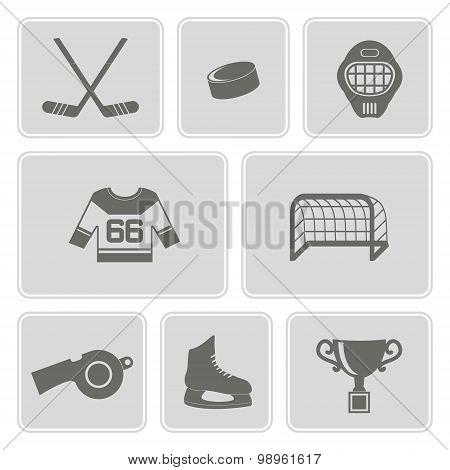 monochrome set with hockey icons