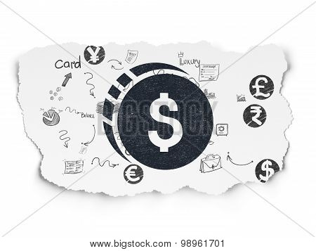 Money concept: Dollar Coin on Torn Paper background