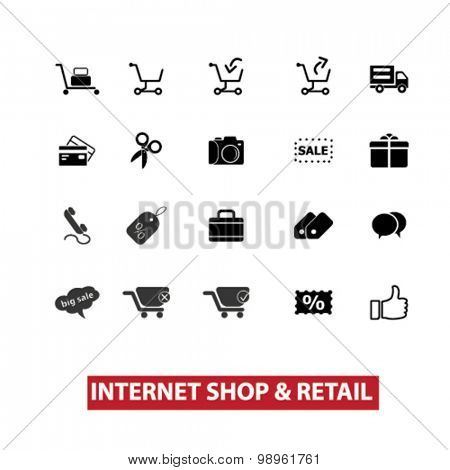 internet shop, retail, store, shop concept isolated black icons, signs, illustrations on white background for web, application, internet