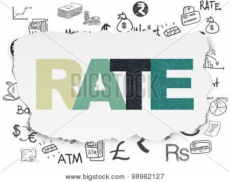 Banking concept: Rate on Torn Paper background