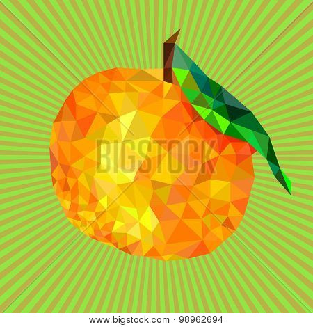mandarin orange triangles on a background with rays