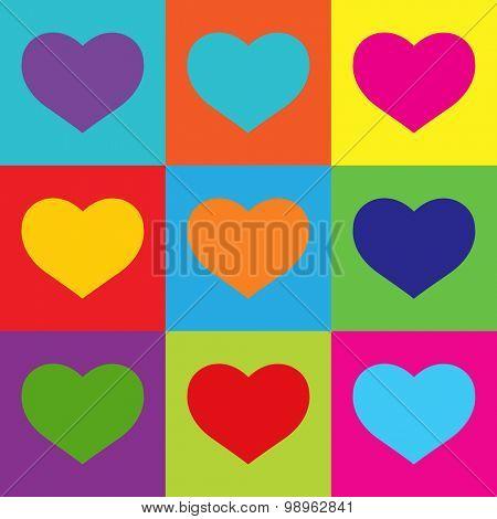 Pop Art Heart Shapes.Vector