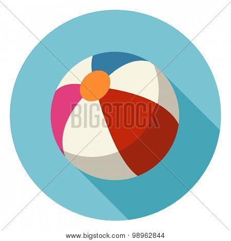 Beach Ball Flat Icon.Vector