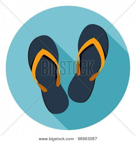 Beach Slippers Flat icon.Vector
