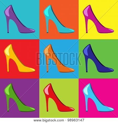 Pop Art high heel women shoes.Vector