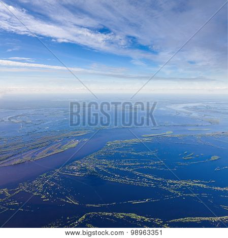 Great river during spring flood, top view