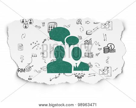 Finance concept: Business Meeting on Torn Paper background