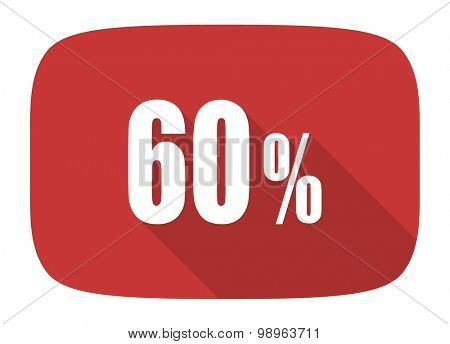 60 percent flat design modern icon with long shadow for web and mobile app