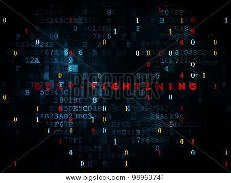 Finance concept: Belt-tightening on Digital background