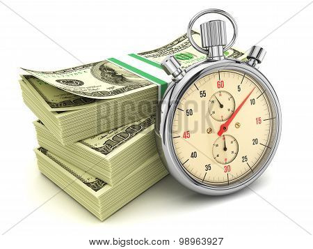 Dollars Banknotes And Stopwatch Isolated On White Background, 3D Illustration