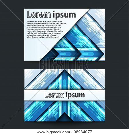 Business Card Design Neon Blue Arrow