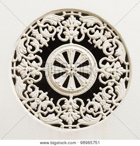 White Painted Historic Cast Iron Window Ornament