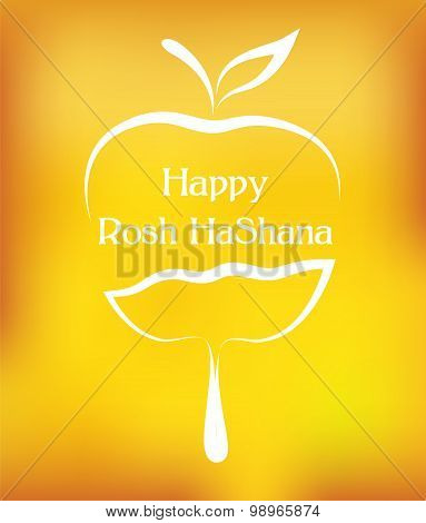 Pouring honey on a slice of  apple on yellow background