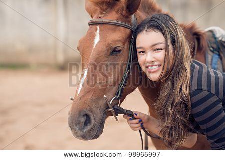 Chestnut Pony And Girl