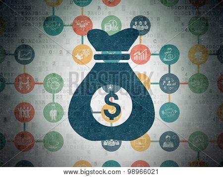 Finance concept: Money Bag on Digital Paper background