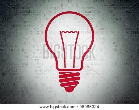 Business concept: Light Bulb on Digital Paper background