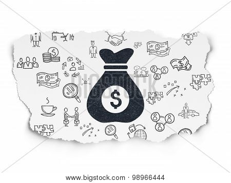 Business concept: Money Bag on Torn Paper background