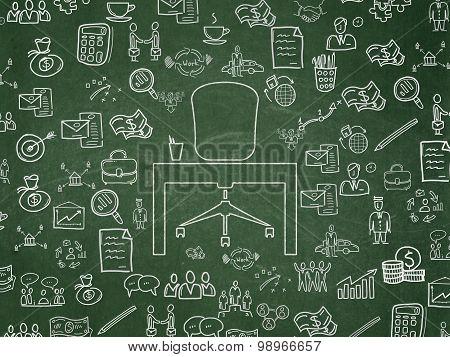 Finance concept: Office on School Board background