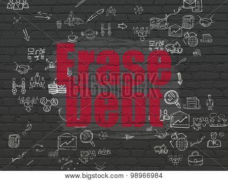 Finance concept: Erase Debt on wall background