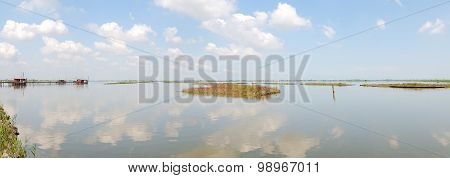 Lagoon With Cloudy Sky