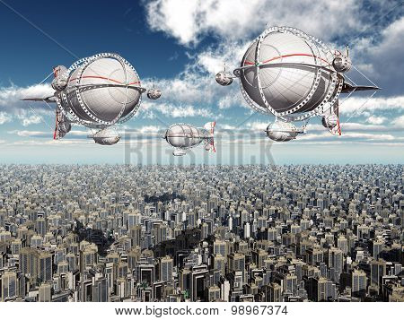 Fantasy airships over a megacity
