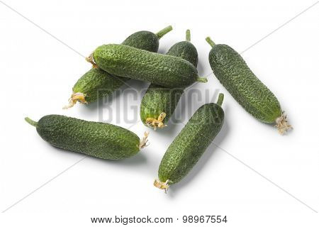 Fresh raw gherkins on white background