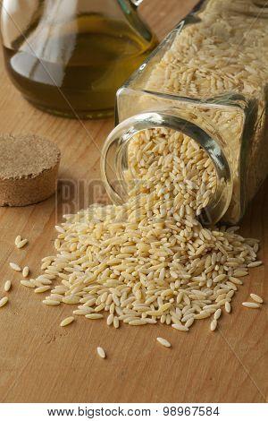 Organic brown rice in a glass jar