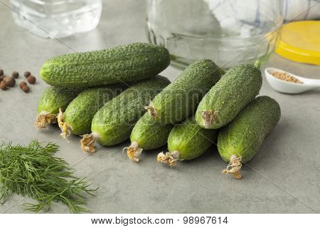 Fresh gherkins and herbs ready to pickle